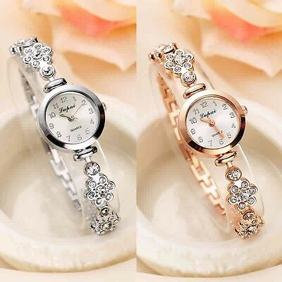 Fashion Women Stainless Steel Crystal Dial Luxury Quartz Bracelet Wrist Watches