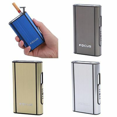 Pocket 10pcs Smoke Cigarette Case Automatic Ejection Holder Metal Box Men's Gift