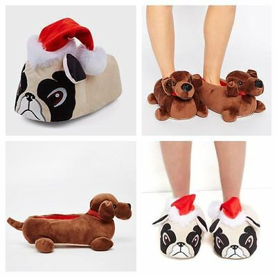 Novelty Pug Sausage Dog Funny Cosy Slippers Character Soft Warm 3 4 5 6 7 8 New