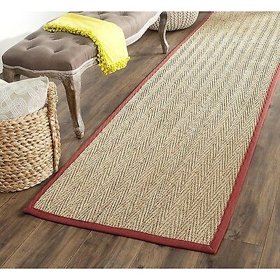 Safavieh Casual Natural Fiber Hand-Woven Sisal Natural / Red Seagrass Runner Rug