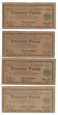 Philippines Wwii Emergency Currency - Lot Of  7 Negros $20 Notes.(Phil-137)