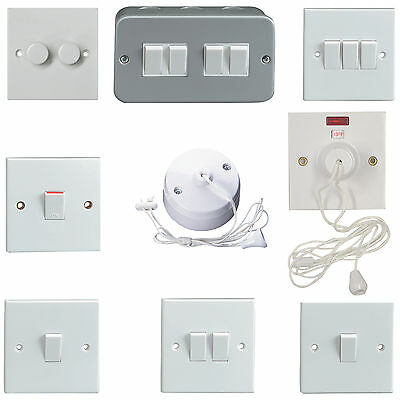 Light Switches 1, 2, 3 4 way - Pull Switches 5A 45A with neon - Metal Clad 6A