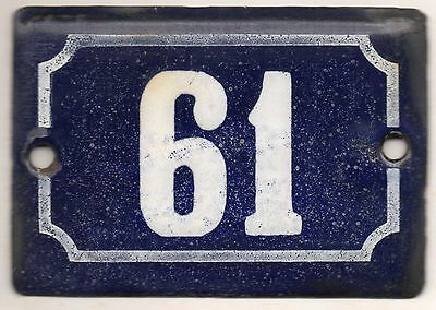 Cute old blue French house number 61 door gate plate plaque enamel metal sign
