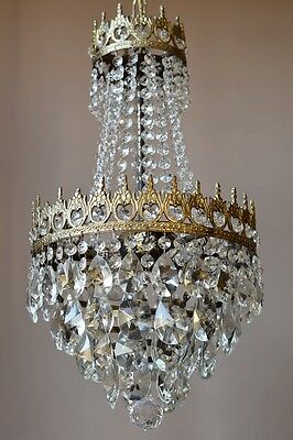Sale Medium Brass Antique French Vintage Crystal Chandelier Lamp Home Lighting