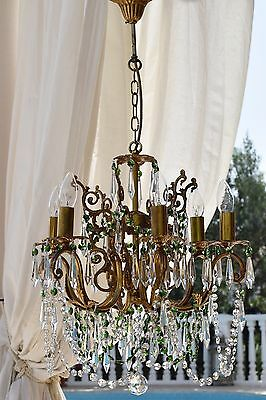 6 ARM ANTIQUE FRENCH VINTAGE 1950s OCTAGON CRYSTAL CHANDELIER LAMP OLD LIGHTING