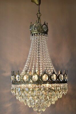 LARGE Antique French Vintage Crystal Chandelier Lamp 1950's Old Home Lighting