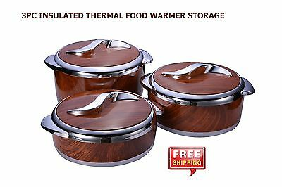 3Pc Stainless Steel Insulated Thermal Food Warmer Storage Casserole Hot Pot Set