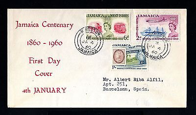 13802-JAMAICA-FIRST DAY COVER KINGSTON to BARCELONA (spain)1960.BRITISH
