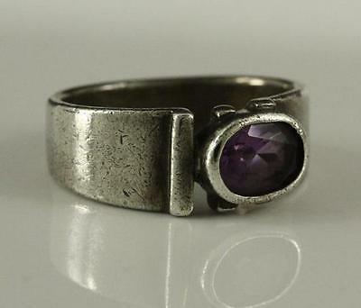 Vintage Sterling Silver Amethyst Faceted Oval Stone Jewelry Ring Size 7