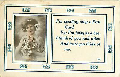 1913 I'm Busy As A Bee Postcard Auburn Post Card Manufacturing Company Ind