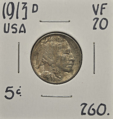 1913-D United States 5 Cents VF-20