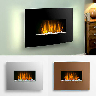 Wall Mounted Remote Control Electric Fireplace Fire - LED Colour Changing Lights
