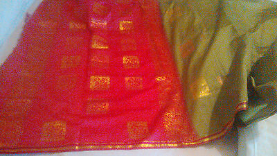 Green with Pink organza sari with attached Blouse piece REDUCED