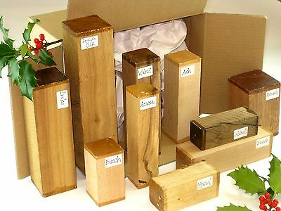 Wood turning spindle blanks gift selection pack. Box of mixed sizes and species.