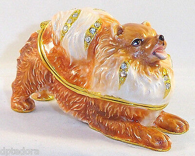 Kingspoint Pom Pom Pomeranian Pewter  Bejeweled Hinged Trinket / Jewelry  Box
