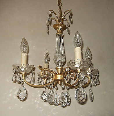 Stunning Antique French Louis Xvi Ormolu Glass & Crystal Drops  Chandelier