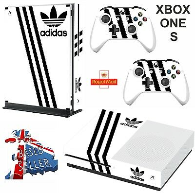 ADIDAS WHITE & BLACK xbox one S skins decals stickers  + 2 controllers game