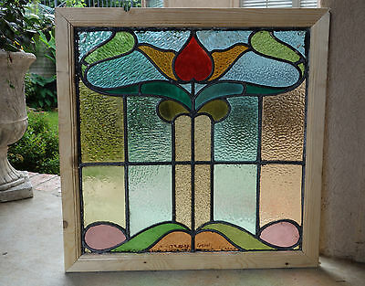 Antique English Leaded Stained Glass Window Wood Frame 26 x 26  Arts & Crafts -B