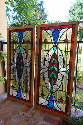 PAIR Antique English Leaded Stained Glass Window Wood Frame 45 x 20 Arts & Craft