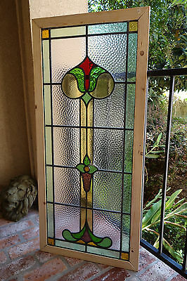 TALL Antique English Leaded Stained Glass Window Wood Frame 45x20  Arts Crafts D
