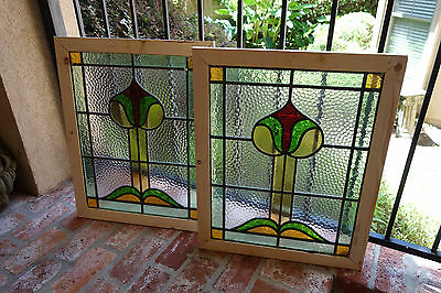 PAIR Antique English Leaded Stained Glass Window Wood Frame 25x24 Arts & Crafts