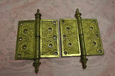 Brass Ornate Hinges Late 19th Century Matching Set of Two