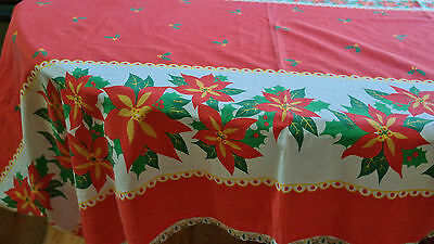 CHRISTMAS Tablecloth Poinsettia Stripes Lace Edging