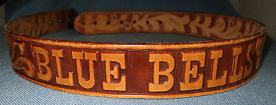 "Blue Bells Hand Finished Brown Saddle Leather Belt .. 34"" long by 1 1/2"" wide"