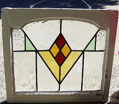 23x21 Old Vtg Art Deco Leaded 4 Color Stained Glass Window Mission Arched Frame