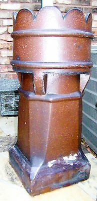 Large Vtg Old Authentic Antique Terra Cotta Crown Roof Chimney Pot Garden Decor