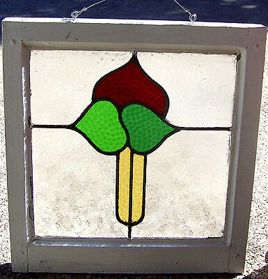 19x20 Old Vtg Art Deco Floral Leaded 3 Color Stained Glass Window Antique Frame