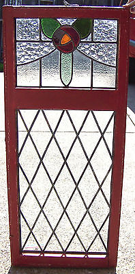 19x44 Vtg Old Leaded Stained Glass DOUBLE DIAMOND ROSE Window Antique 49 Panes