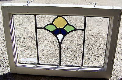 22x15 Old Vtg Art Deco Leaded 4 Colr MOP Pearl Slag Stained Glass Window Antique