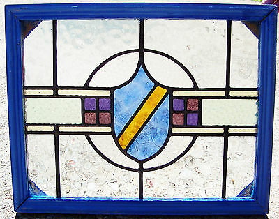 21x17 Old Vtg Leaded Stained Textured Glass Window Antique Crest Shield Design