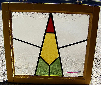 21x19 Old Vtg Art Deco Leaded Stained Glass Window 8 Panes Antique Wood Frame