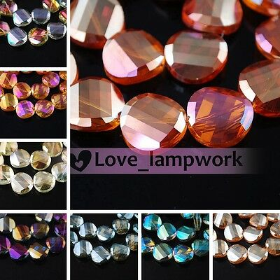 Bulk Lot 12/14/18mm Faceted Twist Tile Glass Crystal Findings Loose Spacer Beads