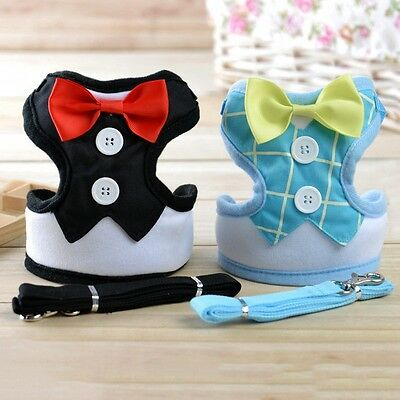 New Dog Harness Cute Pet Bowknot Vest Adjustable Walking Collar Lead Leash Strap