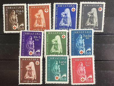 £££ Croatie - timbres n°105 / 114 - croix rouge / red cross - MNH** - année 1943