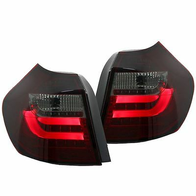 Bmw 1 Series E87 Hatch 2004-2007 Red & Smoked Led Rear Tail Lights Lamps Pair