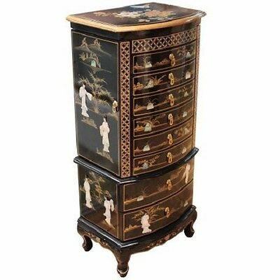 Black With Mother Of Pearl Jewellery Armoire Oriental Chinese Furniture