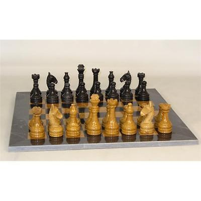 Worldwise Imports 96616BG Black And Golden Marble Chess Set