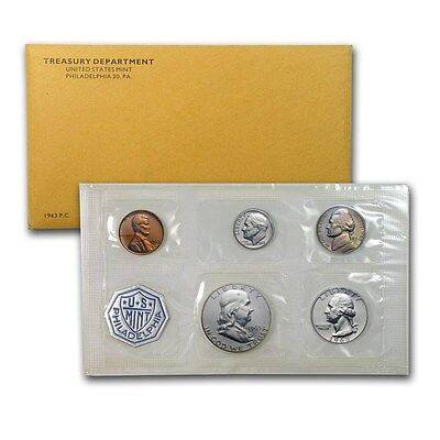 1963 United States Mint Proof 5 Piece set 90% Silver -- Free Shipping