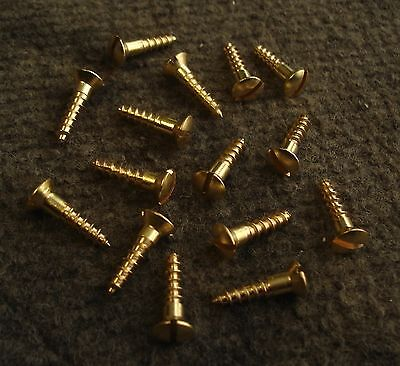 "15  TRADITIONAL SLOTTED BRASS SCREWS 8 x 3/4"" RAISED HEAD WOOD SCREWS. NEW!!!"