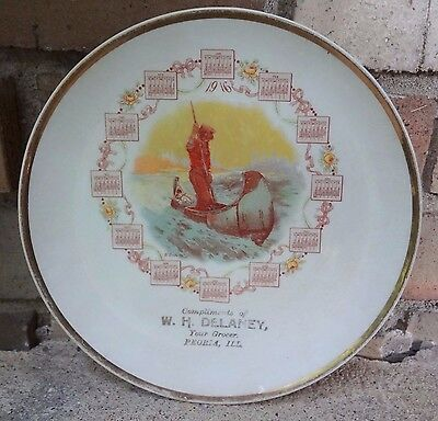 Antique Peoria Indian Illinois 1916 Calendar Plate Delaney Grocery Canoe River