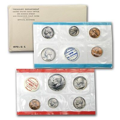 1970 United States Mint 10 Piece set -- Free Shipping