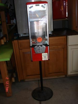 Red Gumball/Candy/Toy Machine With Stand - Dispenser Coin Operated