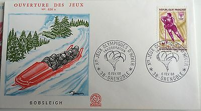 £££ France - 1968 - 2 FDC jeux Olympiques GRENOBLE 1968 - Bobsleigh