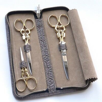 DOVO Complete 3 Pc. Specialty Scissor Set w/ Zippered Leather Case