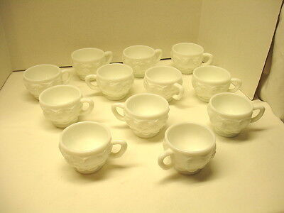 Vintage Westmoreland Milk Glass Paneled Grape 12 Punch Bowl Cups - cups only