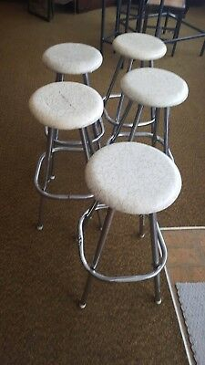 Set of 5 1950s SNYDER RETRO ATOMIC CHROME BAR KITCHEN SEAT STOOLS Mid Century